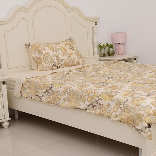 3 Pcs Cream Colour Fitted Sheet (Size 90x190 Cm), Duvet Cover (Size 140x200 Cm) and 1 Pillow Case (Size 50x75 Cm) Cream and Multi Colour