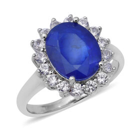 JCK Vegas 4.01 Ct Blue Spinel and Zircon Halo Ring in Rhodium Plated Sterling Silver