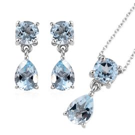 Sky Blue Topaz (6.50 Ct) Platinum Overlay Sterling Silver 2 Pcs Earring and Pendant With Chain Set