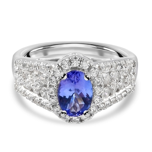 Tanzanite and Natural Cambodian Zircon Ring in Platinum Overlay Sterling Silver 2.50 Ct.