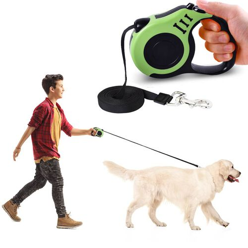 Retractable Dog Leash - Green (Rope Length: about 5m) (Size 10.5x3x23cm)