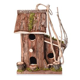 Handmade Wooden Bird House (Size 20x19x25 Cm) - Natural