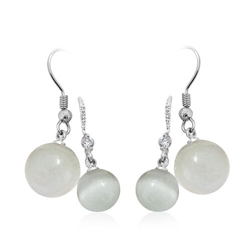 Set of 2-Simulated White Cats Eye and Simulated White Diamond Hook Earrings Silver Plated
