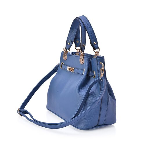 Blue Colour Tote Bag with Adjustable and Removable Shoulder Strap (Size 31.5x24x16 Cm)