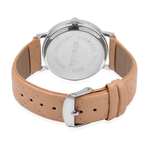 STRADA Japanese Movement Watch with Camel Colour Strap and Beige Colour Faux Fur Scarf (Size 100x15 Cm)