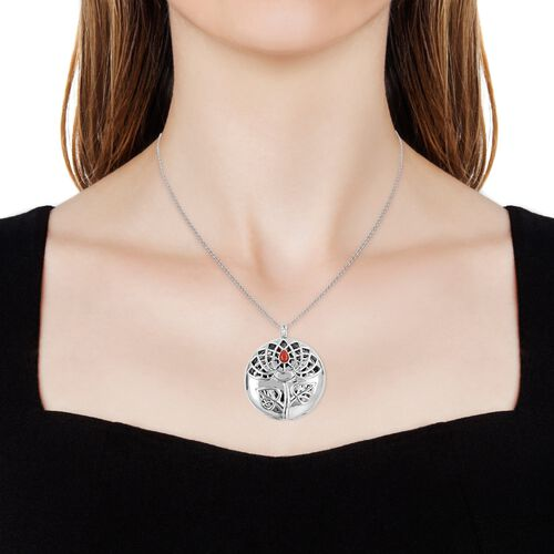 RACHEL GALLEY Red Coral (Pear) Lotus Pendant With Chain (Size 30) in Rhodium Overlay Sterling Silver,Silver wt 33.44 Gms.