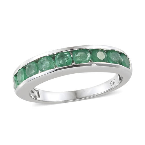 9K White Gold AA Kagem Zambian Emerald (Rnd) Half Band Ring 1.000 Ct.