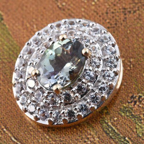 Green Tanzanite (1.50 Ct),Sri Lankan White Sapphire 9K Y Gold Pendant  2.500  Ct.