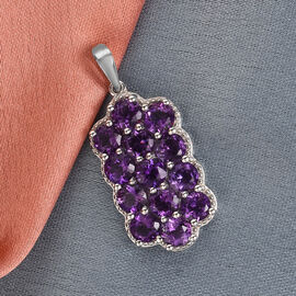 Moroccan Amethyst Cluster Pendant in Platinum Overlay Sterling Silver 3.25 Ct.