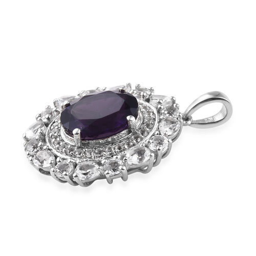 Lusaka Amethyst (Ovl 12x10 mm), White Topaz Pendant in Platinum Overlay Sterling Silver 7.000 Ct.