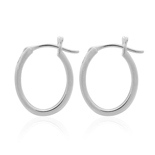 Diamond (Bgt) Hoop Earrings in Platinum Overlay Sterling Silver (with Clasp) 0.250 Ct.