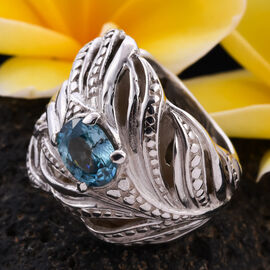Royal Bali Collection - Natural Blue Ratnagiri Zircon  Feather Design Ring in Sterling Silver 2.77 ct,  Silver wt 16.40 Gms