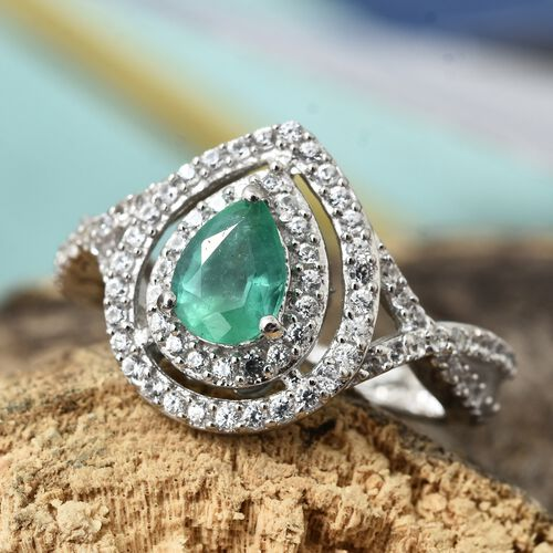 Limited Edition- Premium Santa Terezinha Emerald (Pear), Natural Cambodian Zircon Ring in Platinum Overlay Sterling Silver 1.250 Ct.