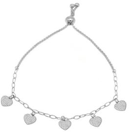 ELANZA Simulated Diamond Heart Charm Bracelet (Size 6-8) in Sterling Silver