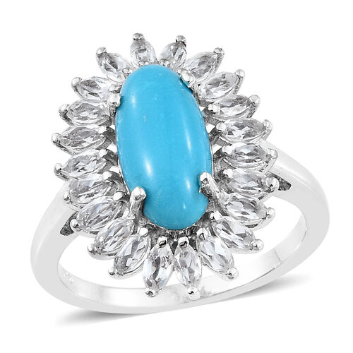 5 Carat Arizona Sleeping Beauty Turquoise and White Topaz Halo Ring in Platinum Plated Silver 4.80 g