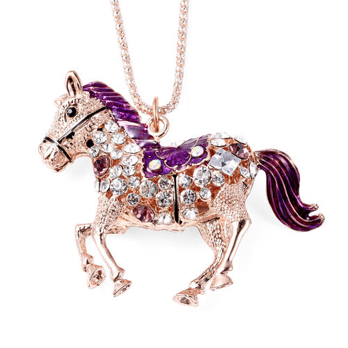 Set of 2 - Multi Colour Austrian Crystal Enamelled Horse Pendant with Chain (Size 28 with 2 inch Extender) and Compact Mirror in Rose Gold Tone