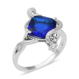 ELANZA Simulated Blue Sapphire (Cush), Simulated Diamond Ring (Size Q) in Rhodium Overlay Sterling Silver