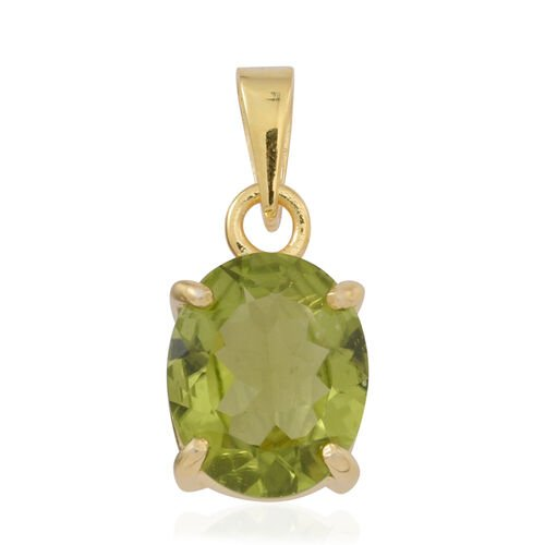 AA Hebei Peridot (Ovl) Solitaire Pendant in Yellow Gold Overlay Sterling Silver 4.000 Ct.