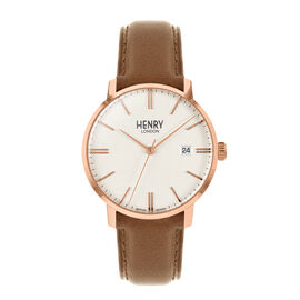 HENRY LONDON Regency Rose Gold Case Watch with Tan Leather Strap