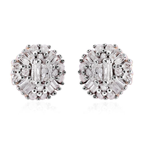 0.25 Ct Diamond Cluster Stud Earrings in 9K Yellow Gold SGL Certified I3 GH