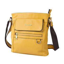 SENCILLEZ Womens Genuine Leather Crossbody Bag with Shoulder Strap - Yellow