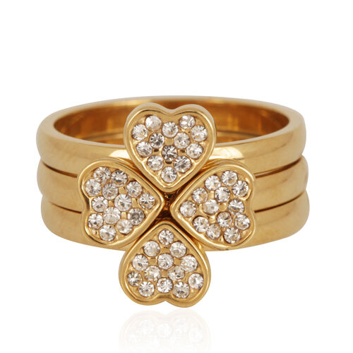 White Austrian Crystal Ring in Gold Tone