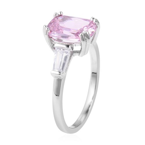 ELANZA Simulated Pink Diamond (Cush 10x8 mm), Simulated Diamond Ring in Rhodium Overlay Sterling Silver