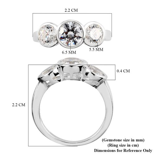 J Francis Sterling Silver 3-Stone Ring Made with SWAROVSKI ZIRCONIA 4.05 Ct.