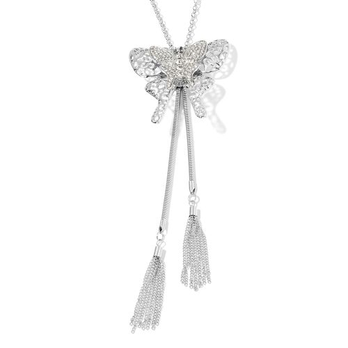 White Austrian Crystal Butterfly Pendant With Chain (Size 28 with 2.50 inch Extender) in Silver Plating.