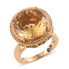 GP Citrine (Rnd 14 mm), Jalisco Fire Opal and Blue Sapphire Ring in 14K Gold Overlay Sterling Silver