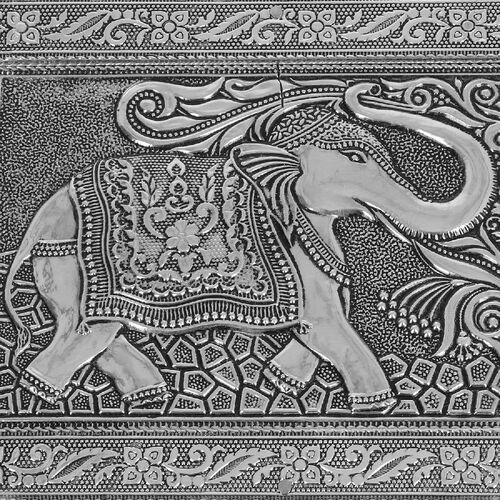 3D Embossed Collection Handcrafted Elephant Oxidised Jewellery Box (Size 19x14cm)
