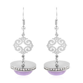 18 Carat Purple Jade and White Austrian Crystal Chandelier Earrings in Stainless Steel