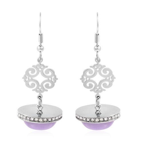 18 Carat Purple Jade and White Austrian Crystal Chandelier Earrings in Stainless Steel
