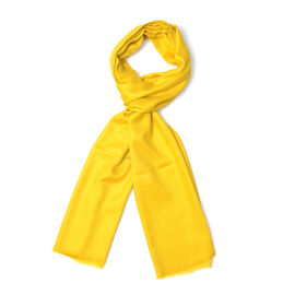 100 % Himalayan Cashmere Wool Yellow Scarf (70x200 Cm)