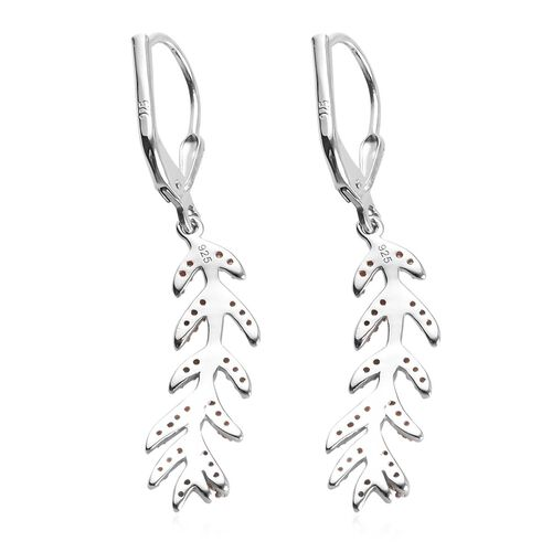 Natural Champagne Diamond, White Diamond 0.25 Carat Leaf Lever Back Earrings in Platinum Overlay Sterling Silver.