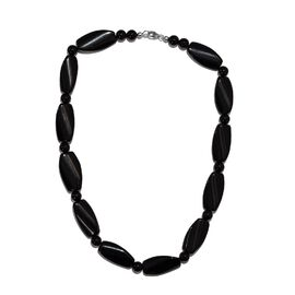 Black Agate Necklace (Size 20) (with Lobster Clasp) in Rhodium Overlay Sterling Silver 367.200 Ct.