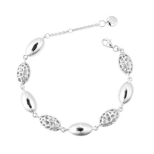 RACHEL GALLEY Pebble Lattice Bracelet in Rhodium Plated Silver 11.09 grams
