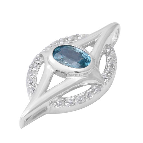 Ratanakiri Blue Zircon and Natural Cambodian Zircon Pendant  in Rhodium Overlay Sterling Silver 1.79 Ct, Silver wt. 5.20 Gms