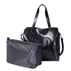 Designer Inspired - 2 Piece Set - 100% Genuine Leather Black Colour Tote Bag (Size 31x30x12 Cm) and Pouch (Size 29x22x11 Cm)