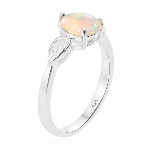 1 Carat Ethiopian Welo Opal Solitaire Ring in Platinum Plated Silver