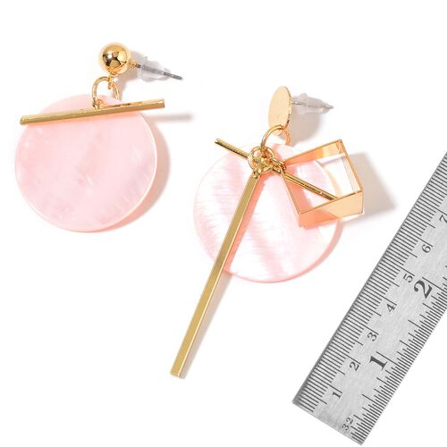 Pink Shell Earrings in Yellow Gold Tone