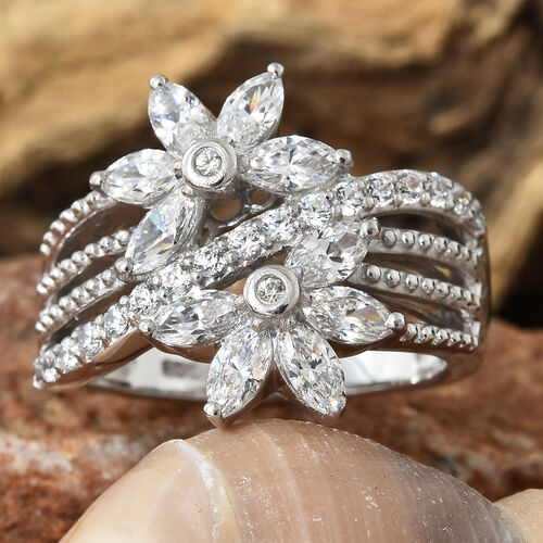 J Francis Platinum Overlay Sterling Silver (Mrq) Floral Ring Made with SWAROVSKI ZIRCONIA