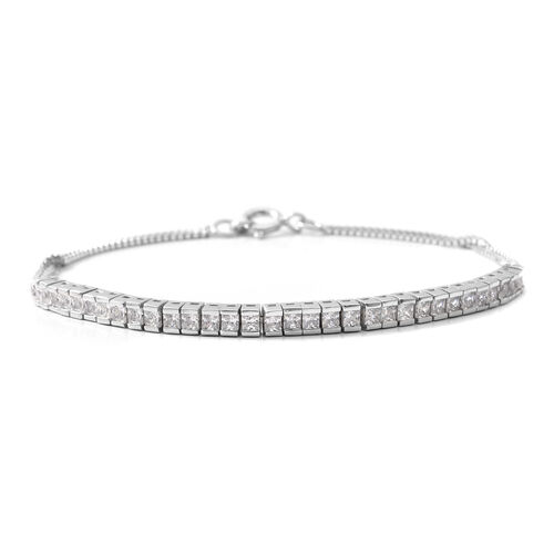 ELANZA Simulated Diamond (Princess) Bracelet (Size 7.5) in Rhodium Overlay Sterling Silver, Silver Wt 5.05 Gms