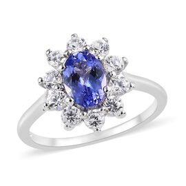 One Time Deal- Tanzanite (Oval 7x5mm), Natural Cambodian Zircon Ring in Platinum Overlay Sterling Si