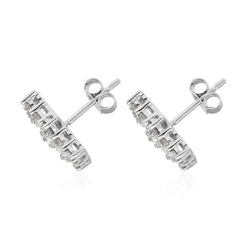 9K White Gold SGL Certified Natural Diamond (I3/G-H) Boat Cluster Stud Earrings (with Push Back) 1.00 Ct.