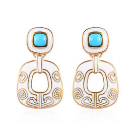 1.25 Ct Arizona Sleeping Beauty Turquoise Enamelled Drop Earrings in Gold Plated Sterling Silver