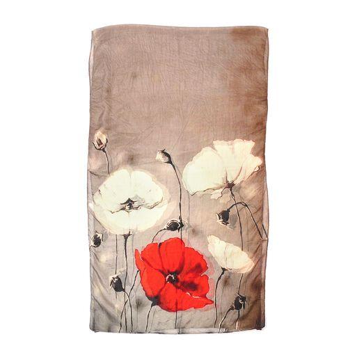 100% Mulberry Silk Grey and Red Poppy Print Scarf (180x50cm)