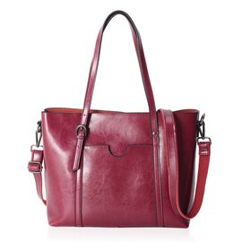 100% Genuine Leather Burgundy Colour Tote Bag with Removable Shoulder Strap (Size 31x27x12 Cm)