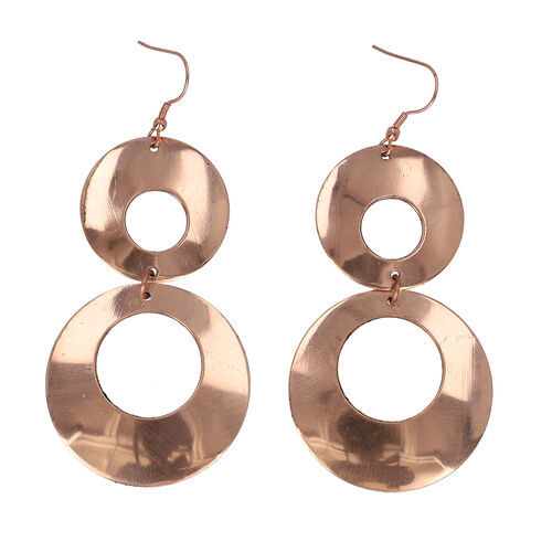 Shiny Dangle Hook Earring in Bronze Tone