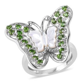 Jardin Collection - White Mother of Pearl and Russian Diopside Butterfly Ring in Rhodium Overlay Ste